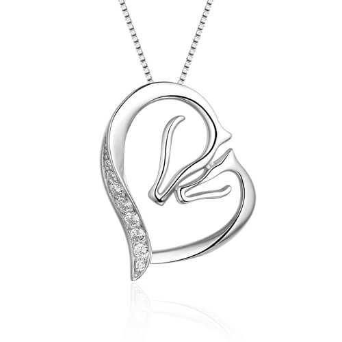 Mother Horse And Baby Horse Necklace Sterling Silver