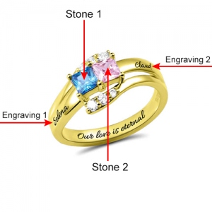 Custom Engraved Two Birthstones Ring Gold Plated