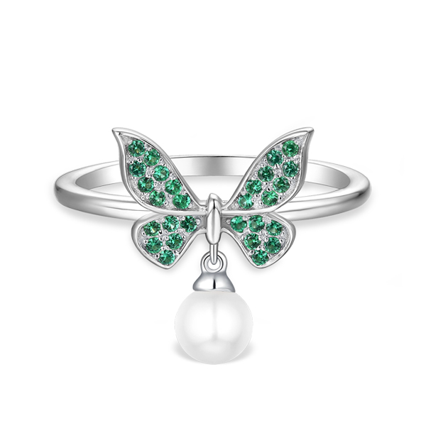 silver pearl ring,