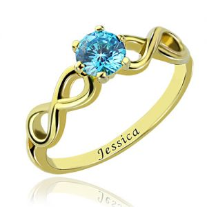 Double Infinity Promise Name Ring with Birthstone 18K Gold Plated
