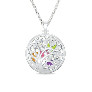 Round Cage Family Tree Birthstone Necklace Platinum Plated