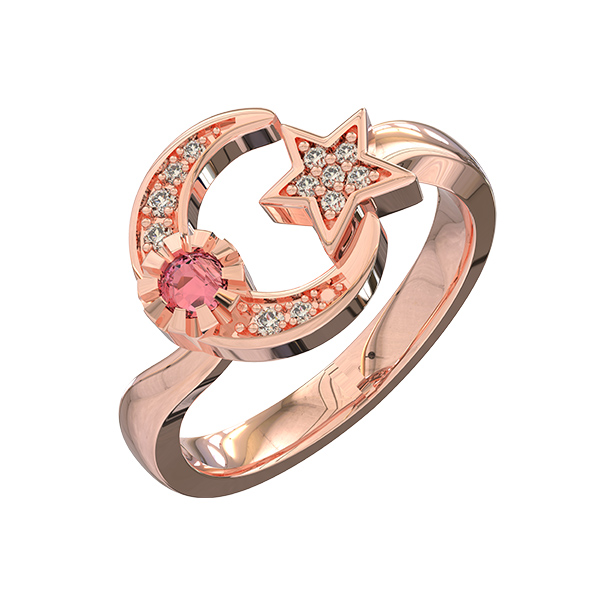 Custom Engraved Moon And star Birthstone Ring In Rose Gold