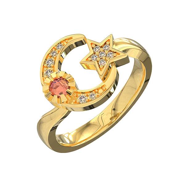 Custom Engraved Moon And Star Birthstone Ring Gold Plated