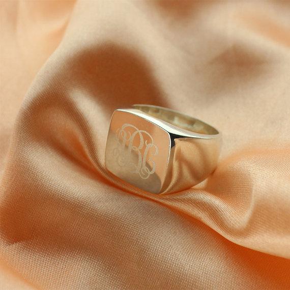 Engraved Square Designs Monogram Ring Sterling Silver