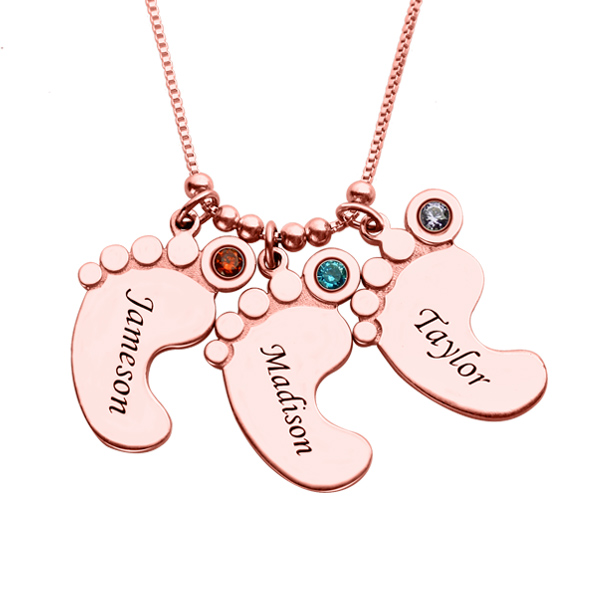Mother's Pendant: Baby Feet 3 Names Necklace In Rose Gold