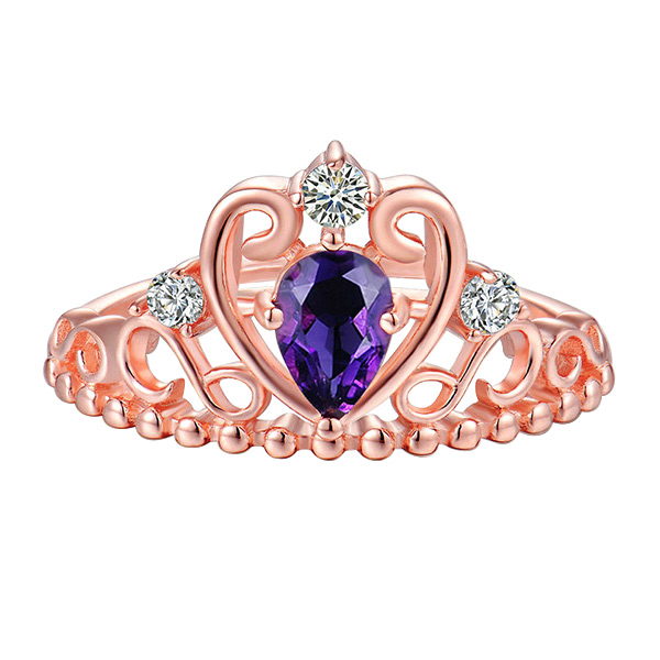 Natural Amethyst Crown Heart Ring In Gold