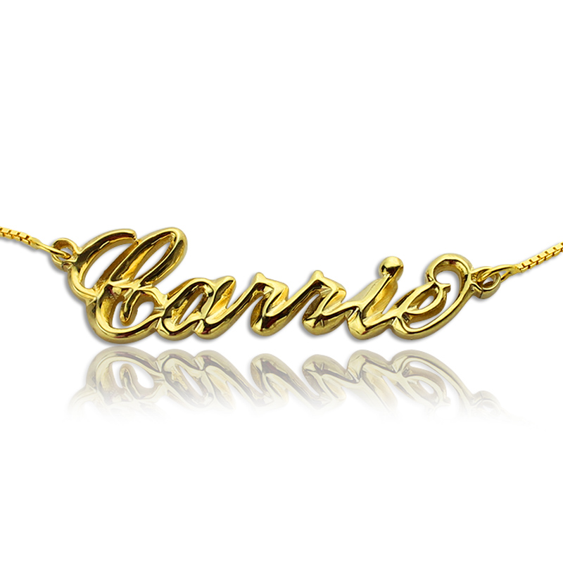 Personalized 3D Carrie Name Necklace 18K Gold Plating