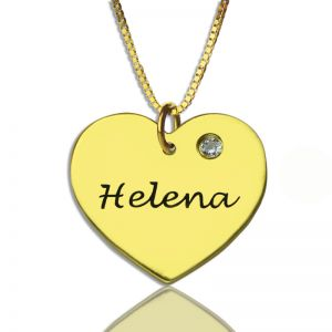 Simple Heart Necklace with Name & Birhtstone 18k Gold Plated Upload