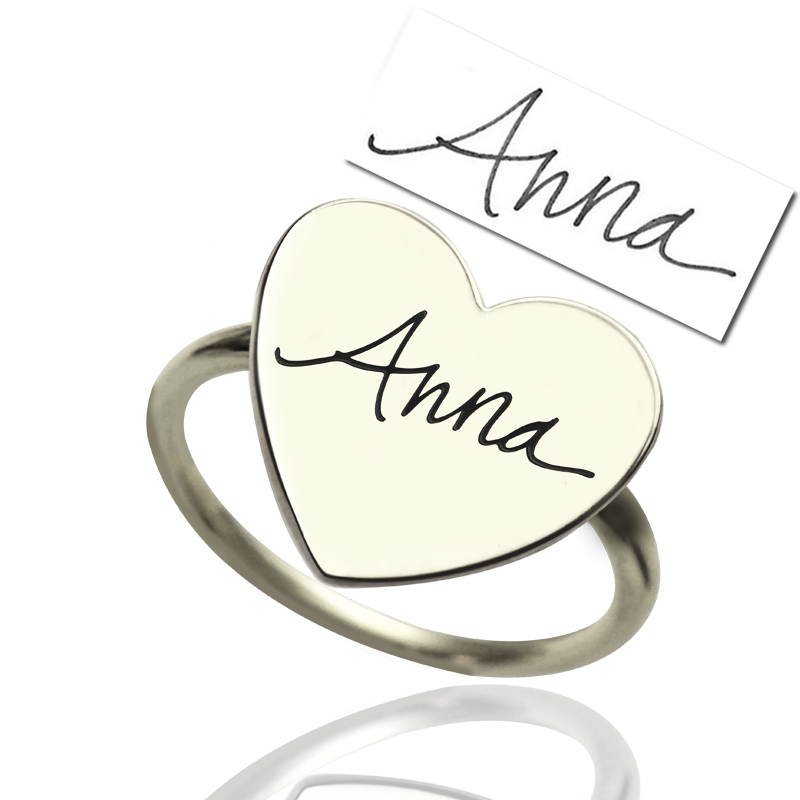 Personalized Signature Ring Handwriting Stainless steel