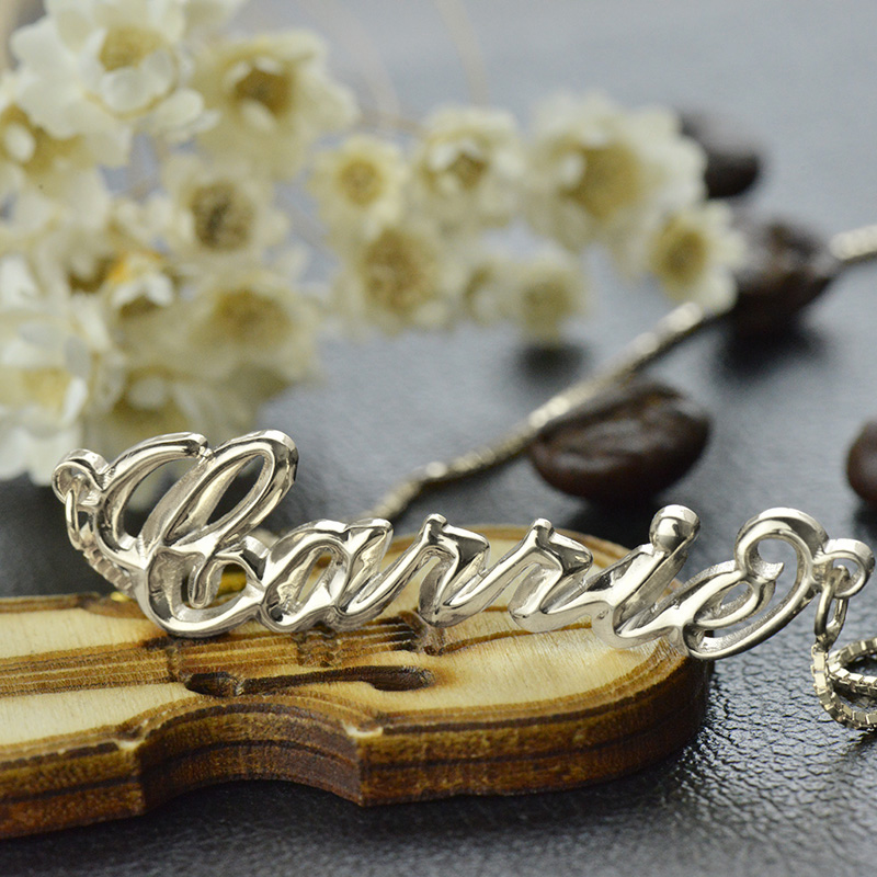 Personalized 3D Carrie Name Necklace Sterling Silver
