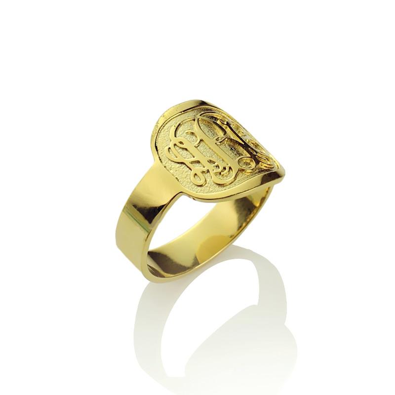 Engraved Men's Monogram Ring 18K Gold Plated