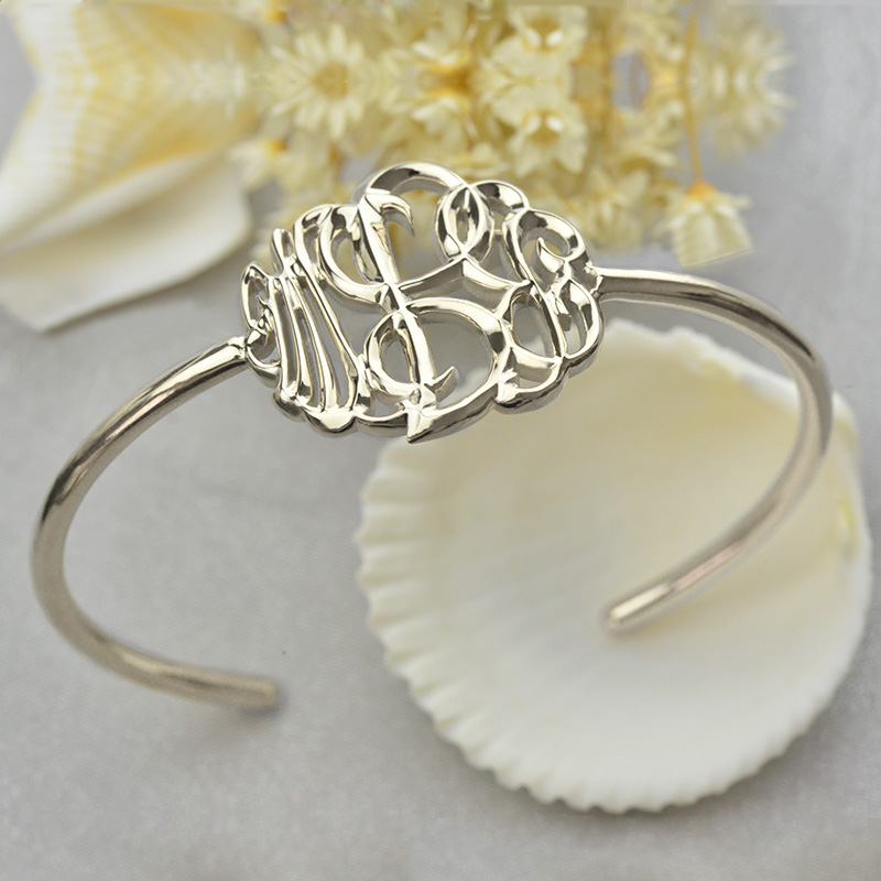 Personalized Monogram Bangle Bracelet Hand-painted Silver