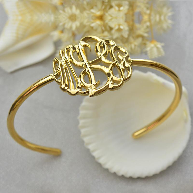 18K Gold Plated Monogram Bangle Bracelet Hand-painted