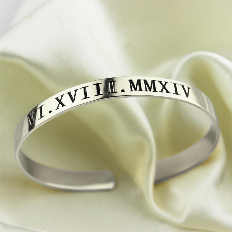 Personalized Roman Numeral Date Cuff Bangle Sterling Silver