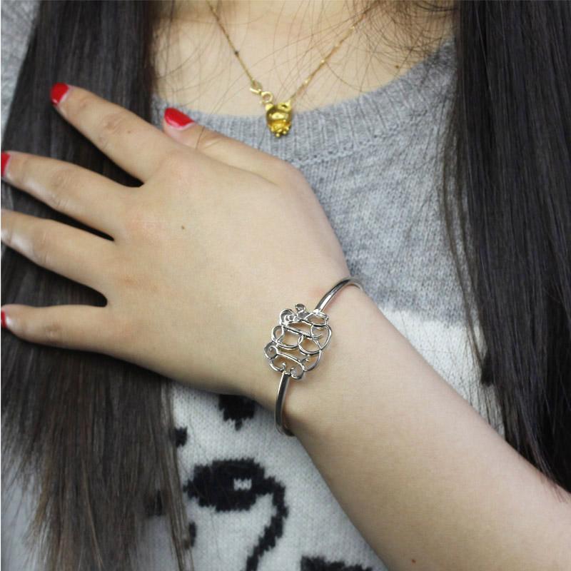 Celebrity Monogrammed Initial Bangle Bracelet Sterling Silver