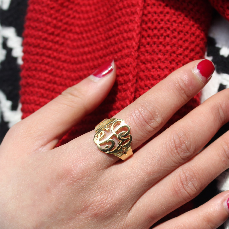 Personalized Hand Drawing Monogrammed Ring Gift